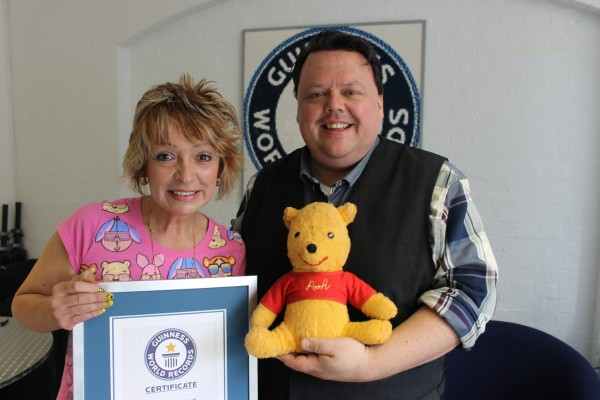 Deb Hoffmann at Guinness World Records Headquarters in London England with editor Craig